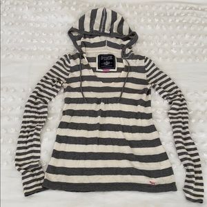 PINK striped hooded babydoll sweater